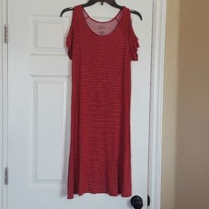 Red Cold Shoulder Midi Tee Shirt Dress